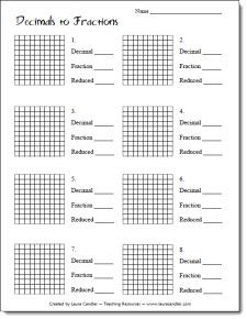 Decimals to Fractions Freebie from Laura Candler's online file cabinet