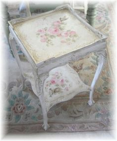 Antique Hand Painted Table bY Debi Coules