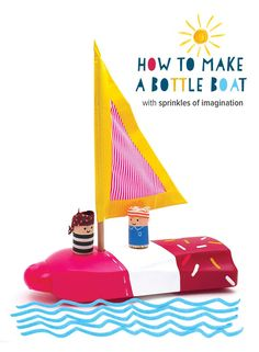 Recycled Bottle Boat with wine cork sailors - quick summer craft for kids for imaginative adventures in the bath or a paddling pool  // @mollymooblog
