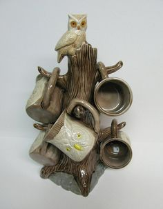 Vintage Owl Mug Tree 6 Owl Mugs on a Handpainted by OldenDayJoy, $56.00