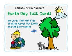 "Get your students thinking with this set of 40 ""Earth Day Task Cards."" Each card teaches students about the Earth in some way. Many of the cards are geared to get kids thinking about the care of the environment (recycling, saving energy, reusing goods, etc.). Other cards reinforce basic facts about the Earth."