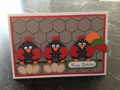 Chick card using heart punches - happy birthday, farm theme.  For all the farmers that are now in our family!