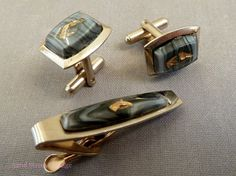 Vintage Mens Cufflink and Tie Bar Set 1950s Equestrian Art Glass via Etsy