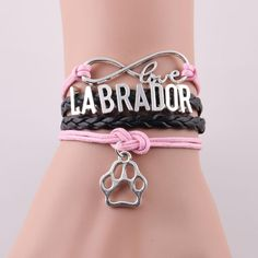 Infinity Love Labrador Paw Charm Bracelet