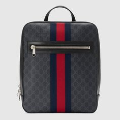 a266b695c646 Shop the GG Supreme backpack by Gucci. A structured backpack made in GG  Supreme canvas with House Web stripe in blue and red.