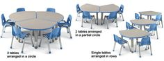 like the idea of tables that can be grouped or individual; Smith System 3-2-1 Childrens Desks