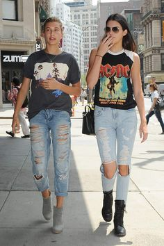 Shredded jeans + tees. Kendall Jenner knows what to wear. https://www.merchbar.com/collections/42384/acdc