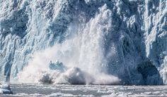 splitting glacier calving off of ice - Large crack and splash. This is an image of ice breaking off a glacier in Alaska. With global warming this is a more frequent sight. Photography by Mark Bowen Ice Breakers, Small Boats, Global Warming, Alaska, Wildlife, Waves, Nature, Photography, Outdoor