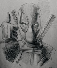 Pencil sketch of Deadpool #drawing #art #deadpool #marvel