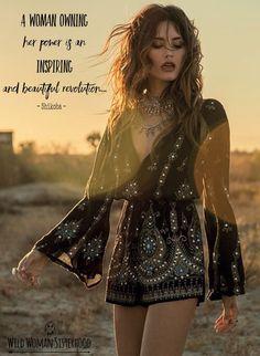 A woman owning her power is an inspiring and beautiful revolution.... ~ Shikoba WILD WOMAN SISTERHOODॐ #WildWomanSisterhood #wildwomen #sacredwoman #freedom #gypsy #gypset #gypsysoul #wildsoul #wildwomanteachings #spiritualityteachings #rewild #shikoba #shikobaquotes #wildwomanmedicine #woman