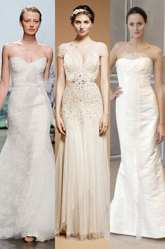 Summery wedding dresses by Monique Lhuillier, Jenny Packham, and Carolina Herrera. LOVE the middle dress!