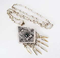 Traditional Columbian Ladies Fashion 900 Grade Silver and Emerald Inca Pendant on Sterling Silver Belcher Link Chain FREE POSTAGE Included by GloryBeVintageWares on Etsy