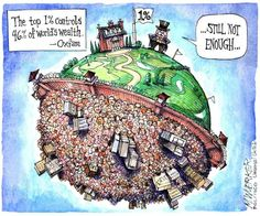 The combined wealth of the richest 1 percent will overtake that of the other 99 percent of people next year unless the current trend of rising inequality is checked, Oxfam warned today ahead of the annual World Economic Forum meeting in Davos. Political Art, Political Cartoons, Dobby Harry Potter, Thing 1, He Is Able, How To Get Rich, Social Issues, Embedded Image Permalink, Enough Is Enough