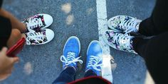#vans #periwinkle blue #flowers #friends #school