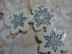 Three Gorgeous Ceramic Snowflake Ornaments by GardenSpellGhostTale Button Ornaments, Clay Ornaments, Snowflake Ornaments, Christmas Tree Ornaments, Snowflakes, Christmas Crafts, Ceramics Projects, Clay Projects, Pottery Studio