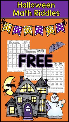 Halloween math riddles with 2-digit addition with regrouping--second grade math --FREE math