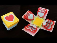 Heart explosion box - learn how to make an easy exploding heart gift box from templates - EzyCraft - YouTube