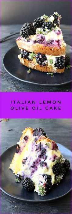 Italian Lemon Olive Oil Cake with Berried Whipped Mascarpone and Lemon Curd Layers | http://CiaoFlorentina.com @CiaoFlorentina