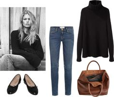 Untitled #123 by halinafew featuring a genuine leather toteLa Garçonne Moderne chunky oversized sweater, €400 / Frame Denim medium rise jeans, €220 / Chanel footwear / Genuine leather tote, €290
