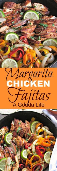 Margarita Chicken Fajitas: tequila-citrus marinated chicken sautéed in vegetables for an easy, quick weeknight meal you can entertain with. Chicken Parmesan Recipes, Best Chicken Recipes, Turkey Recipes, Mexican Food Recipes, Ethnic Recipes, Mexican Cooking, Mexican Dishes, Midweek Meals, Quick Weeknight Meals