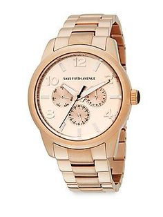 Saks Fifth Avenue Rose Goldtone Stainless Steel Chronograph Watch - Ro
