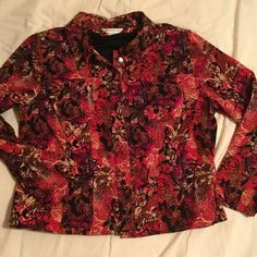 Christopher & Banks jacket Multi-color jacket in fun print. Made of polyester so lighter than denim. Dress it up for the office or for a more casual look pair with black jeans and flats. (red, black, cream with small splotches of purple & olive green). Christopher & Banks Jackets & Coats Blazers