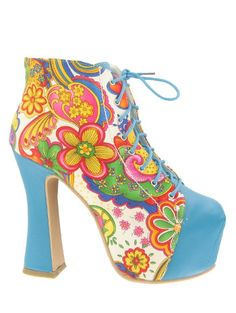 Retro White Floral Platform Ankle Booties