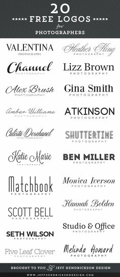 20 free photographer logos using free fonts. - Font ideas?