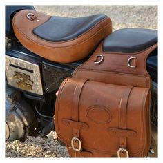 handmade saddlebags and custom made seat from full grain saddle leather.