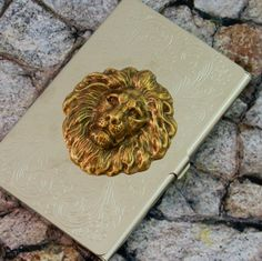 Lion Business Card Case Holder Steampunk Victorian Gothic Metal Wallet Accessory