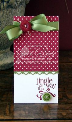 Cherry Cobbler and Old Olive coordinate perfectly for a handmade Christmas card… Stamped Christmas Cards, Homemade Christmas Cards, Christmas Cards To Make, Christmas Gift Tags, Xmas Cards, Christmas Greetings, Homemade Cards, Handmade Christmas, Christmas Crafts
