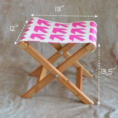 How to make a folding camp stool | How About Orange.                           http://howaboutorange.blogspot.com/2014/04/how-to-make-folding-camp-stool.html