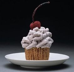 Knitted Cupcake with Cherry on Top