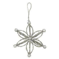 Amazon.com: Christmas Decoration Silver Flower Glitter Ornaments Xmas Set of 2: Home & Kitchen