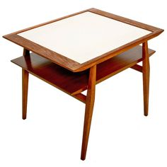 Walnut Side Table in the Manner of Milo Baughman | From a unique collection of antique and modern side tables at https://www.1stdibs.com/furniture/tables/side-tables/