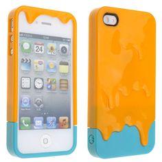 3D Melt ice-Cream Hard Back Apple iPhone 4S Orange Case - USD $ 6.07