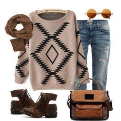 Khaki Long Sleeve Geometric Print Pullovers Sweater