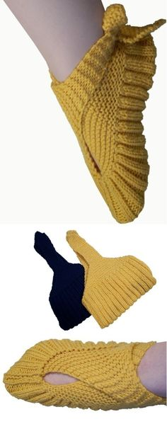 Knitting pattern for Sling Heel Slippers -- ingenious and easy pattern that is knit flat with little seaming and then wrapped. Etsy affiliate link