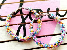 Multi-color Everyday Beaded Hoop Earrings, Rainbow Seed Bead Hoop Earrings, Colorful Boho Jewelry for her Birthday Anniversary Just Because by ChristalDreamz on Etsy