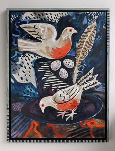 'Darktown Pigeon Nest' by Mark Hearld (oil on board) Bird Illustration, Graphic Design Illustration, Illustrations, Greek Art, Mundo Animal, North Yorkshire, Art Plastique, Animal Paintings, Bird Art