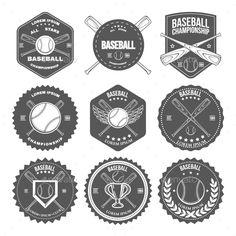 Set of Vintage Baseball Labels and Badges Vector Template #design Download: http://graphicriver.net/item/set-of-vintage-baseball-labels-and-badges/8801213?ref=ksioks