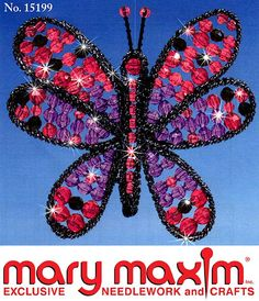 Make this butterfly using beads, thread, yarn, and plastic canvas.