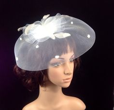 White Feather Fascinator White Derby Hat Mesh Fascinator Hat Kentucky Derby  Hat Church Hat Wedding Hat Dress Hat Tea Party Hat 9a07398ab25d