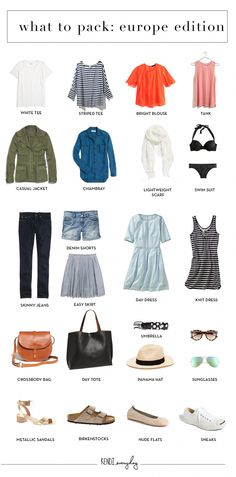 What to pack for europe summer travel outfits, summer travel packing, travel wardrobe summer Packing For Europe, Travel Packing, Packing Ideas, Travel Capsule, Packing Outfits, Travel Hacks, Travel Europe, Paris Packing, Travel Tips