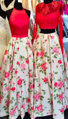Sherri Hill floral print, full ballgown. Two-piece white and pink, floral gown. Pink, lace and floral print gown. Two-piece floral gown. Prom dress with flowers. Floral print prom dress. Halter neckline dress.