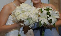 It's all about the white with these lily featured bouquets