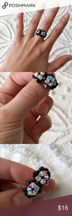 Handmade Swarovski beaded ring Beaded work ring with iridescent flowers. Size: 7 handmade Jewelry Rings