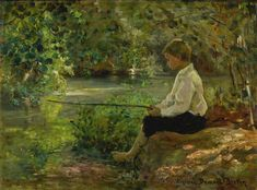 Boy Fishing by Virginie Demont-Breton - Art Renewal Center World's Columbian Exposition, Pintura Exterior, Palace Of Fine Arts, Boy Fishing, Historical Monuments, Out To Sea, French Artists, Landscape Art, Impressionist