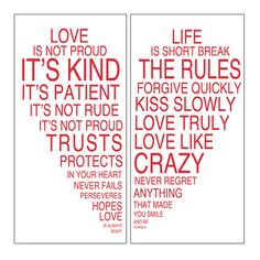 The Rules of Love Canvas Giclee Print (Set of 2)