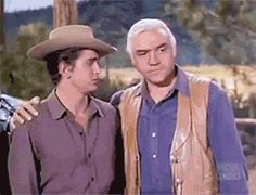 """'Wait just one minute, son' – Ben has one more chore left for Joe to do (Lorne Greene; Michael Landon; """"The Dowry"""", S03E31, 1962)"""